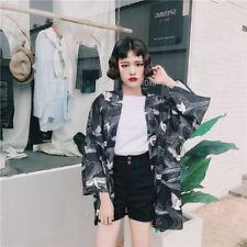Summer Loose Crane Print Kimono Tops Women's Japanese Style Black Haori Shirt