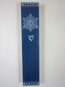 "Large Mezuzah Acrylic ROYAL BLUE STAR w NON Kosher Scroll 6"""