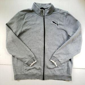 Puma Jacket Mens XL Gray Mock Neck Full Zip Long Sleeve Running Active Wear Top