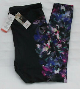 LADIES MARKS AND SPENCER GOODMOVE PURPLE MIX FLORAL SPORTSWEAR LEGGINGS SIZE 16