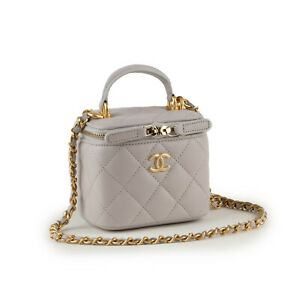 CHANEL 21A Small Vanity Chain Top Handle Grey Quilted Leather GHW Shoulder Bag