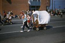 Slide 1950s Red Border Kodachrome Radio Flyer Covered Wagon Parade Orange County