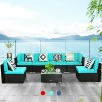 7 PCS Patio Rattan Wicker Sofa Set Cushioned Furniture Outdoor Chair Indoor