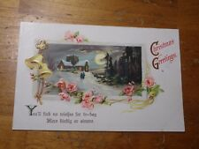 Vintage Postcard Christmas Greetings, Winter Scene With Bells And Pink Roses