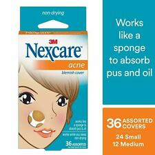 3M Nexcare Acne Absorbing Covers Transparent 36ct (works like a sponge) ~ NEW L7