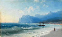 "Oil painting Seascape The Beach at Koktebel on a Windy Day & ocean waves 36"" ART"