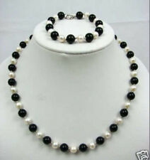 "7-8mm white pearl and onyx necklace & bracelet set18""7.5""  K663"
