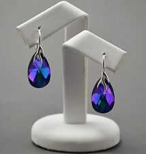 925 SILVER Earrings made with Swarovski Crystals 22mm PEAR  - Heliotrope