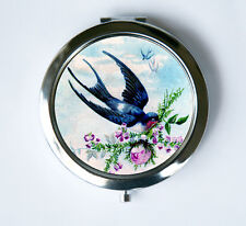 Swallow Carrying Rose Compact Mirror Pocket Mirror Flying flowers birds nature