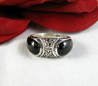 Sterling Silver Onyx & Marcasite Sparkling  Ring Size 6.5 FERAL CAT RESCUE