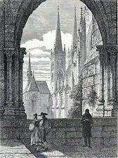 Antique print Kloster St. Burchardi Halberstadt 1865 stampa antica Monastero
