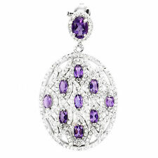 NATURAL TOP RICH PURPLE AMETHYST & W. CZ STERLING 925 SILVER PENDANT Chain Free