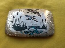**SALE**  VTG Silver, Turquoise, MOP *DUCK or GEESE BELT BUCKLE* Hunting, Nature