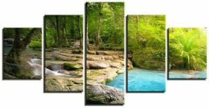Forest River Stream Flows 5 Pieces Canvas Wall Art Print Home Decor