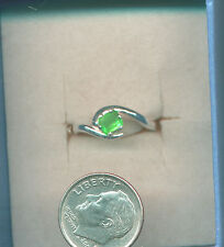 SURPREME GREEN!  4.5x3.8mm  Natural EMERALD *PETITE* SS Birthstone Ring sz 5.75