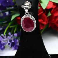 NATURAL 9 X 11 mm. OVAL RED RUBY & WHITE CZ PENDANT 925 STERLING SILVER