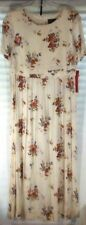 VINTAGE WOMANS EMPIRE WAIST IVORY/WHITE FLORAL DRESS BY LISA II SIZE 14 NWT