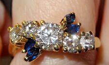 STUNNING DIAMOND RING WITH SAPPHIRE TW OF 1.50 CT DIAMONDS + 4 MARQUISE (6.75)
