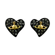 Vivienne Westwood Diamante Heart Stud Earrings Black-Gold