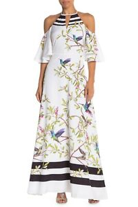 Ted Baker Yarpa Highgrove Cold Shoulder Maxi Dress Gown White Ted Size 1, US 4