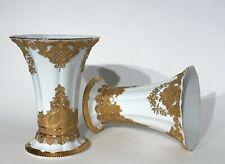Paar Vasen Meissen 2. Wahl B-Form Leuteritz Matt- Glanzgold H. 21,5 cm