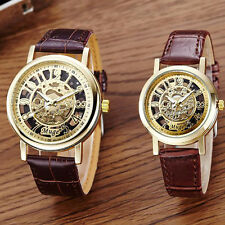 Classic Wrist Hollow Skeleton Mechanical Couple Watch Leather Strap Wrist Watch