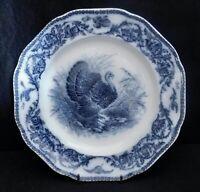 "#1 ANTIQUE CAULDON ENGLAND TURKEY DINNER PLATES BLUE WHITE 10"" SCALLOPED RARE"