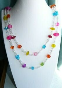 JEWELLERY PRETTY MULTI COLOURED GLASS BEAD NECKLACE PINK LEMON RED TURQUOISE 688