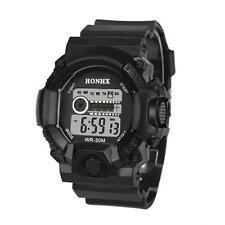 Mens Watches LED Digital Date Alarm Waterproof Rubber Sports Army Wrist Watch BK