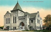 DB Postcard CA G597 Public Library Santa Rosa Street View Gothic Architecture