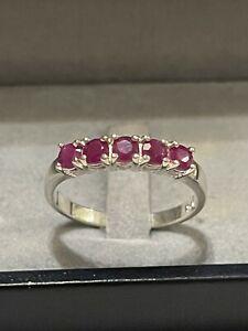 Silber Ring Rubin Rot Bandring  Vorsteckring Edelstein 925 Silber rar Vintage
