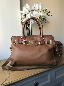 Michael Kors tan genuine leather medium satchel handbag tote shoulder bag