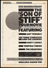 STIFF RECORDS_Son Of Stiff Tour Movie__Orig. 1981 Trade AD_poster__TENPOLE TUDOR