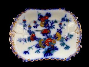 "ANTIQUE COPELAND & GARRET FLO BLUE HAND PAINTED ""BIRD IN TREE"" DISH 1833-1847"