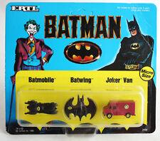 VINTAGE 1989 BATMAN MICRO SIZE BATMOBILE JOKER VAN BATWING ERTL UNPUNCHED NEW !