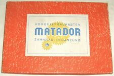Matador Zahnradergänzung Korbuly Baukasten, wie NEU, 1960er Jahre Holzbaukasten