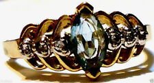 14K YELLOW GOLD LONDON BLUE TOPAZ MARQUISE & DIAMOND RING, SIZE 7.50, 1.25(TCW)