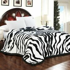 Luxury Blanket Zebra Skin Pattern Printed Sofa Throw Twin Queen Size Soft