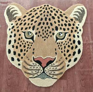 Tibetan Leopard Face Multi Rug 3x3 feet Creative Pattern Carpet for Living Room
