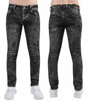 Mens Big Size Jeans Cotton Straight Fit Black Acid Wash Zipped Stretched Denim