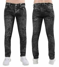Mens Big Size Jeans Cotton Straight Fit Black Acid Wash Zipped Stretched Denim