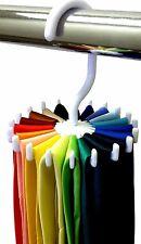 Rotating Tie Rack Adjustable Tie Hanger 20 TIE/BELT Organiser For Men UK SELLER