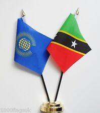 Commonwealth & Saint Kitts und Nevis Doppel Freundschaft Tisch Flagge Set
