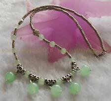 LOVELY NATURAL LIGHT GREEN JADE ROUND BEADS PENDANTS & TIBET SILVER NECKLACE 18""