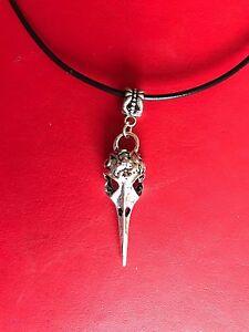 RAVEN CROW BIRD SCULL Antique colour Gothic Steam Punk Pendant Leather Necklace