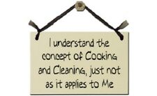 Hand Painted Wooden Sign Wall Plaque I Understand the Concept Cooking & Cleaning