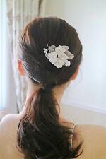 Snow Blossom Floral Hairpin w. Swarovski Crystals in Silver | Handmade | Bridal