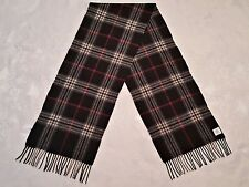 VINTAGE PLAID & CHECK BLACK BURGUNDY CASHMERE BLEND LONG MEN'S FRINGE SCARF