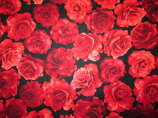 VINTAGE ROSES RED ROSE BLACK COTTON FABRIC FQ