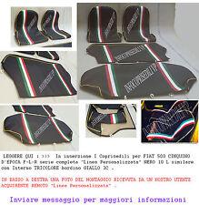 COPRISEDILI FIAT 500 EPOCA Linea Personalizzata NERO 10L sim GIALLO3C tricolore